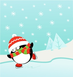 Ice Skating Penguin vector image vector image