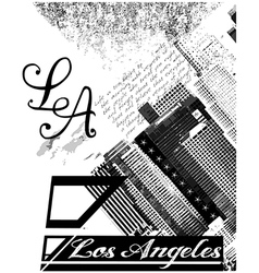Los Angeles USA skyline silhouette black and white vector image