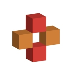 Red and yellow 3D cubes vector image
