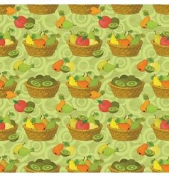 Seamless pattern baskets and fruits vector image