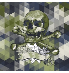 Skull with a ribbon on geometric background vector image