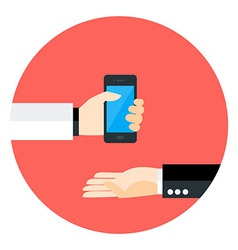 Two Business Man Hands with Phone Circle Icon vector image vector image