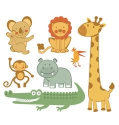 Cute exotic animals vector image
