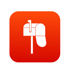open mailbox icon digital red vector image