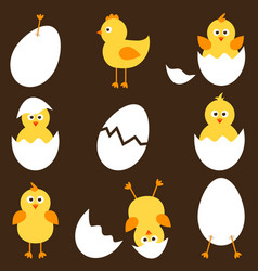 set of cartoon chickens vector image