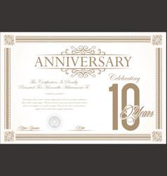 anniversary retro vintage background 10 years vector image vector image