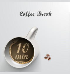 cup with a time of minutes break vector image vector image