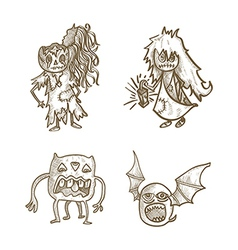 Halloween monsters isolated spooky haunted tree vector
