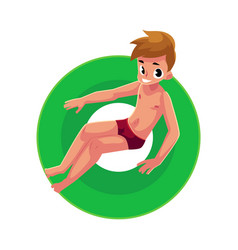 teenage boy teenager swimming on floating vector image vector image