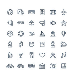 thin line icons set with travel tourism vector image