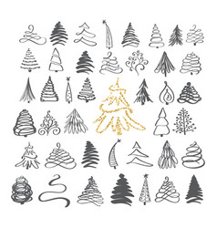 calligraphy hand drawn set christmas tree icons vector image