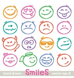 hand drawn smiles vector image