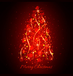 abstract glowing light christmas tree christmas vector image