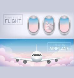 Airplane window tourist banner passenger vector
