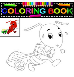 Ant coloring book vector