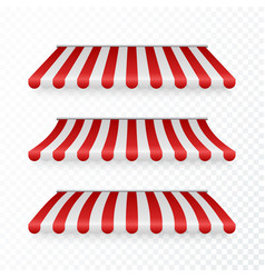 awning set with shadows marketplace striped roof vector image
