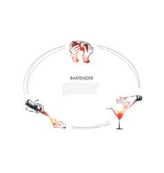 bartender - hands bartender shaking cocktail vector image