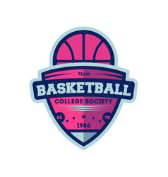 basketball college league vintage label vector image