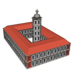 beautiful big building with red roon white vector image