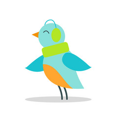 bird blue plumage in warm earpieces listen music vector image