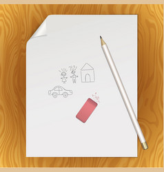 blank paper page pencil eraser picture template vector image