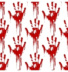 Bloody hand print seamless pattern vector