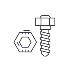 bolt and nut line icon concept bolt and nut vector image