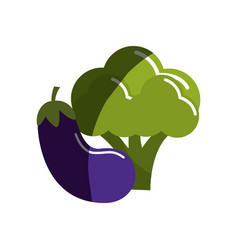 Broccoli and eggplant vegetable icon vector