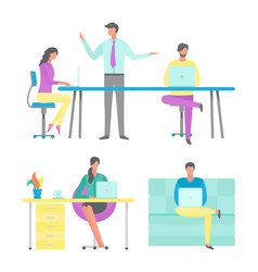 business conference of boss job office workplace vector image