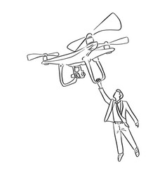 businessman holding big drone in the air vector image