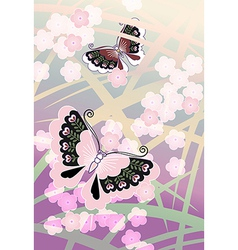 Butterflies among blossoms vector