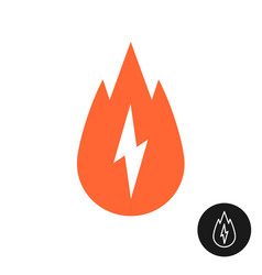calorie burn icon with fire and lightning bolt vector image