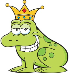 Cartoon frog wearing a crown vector