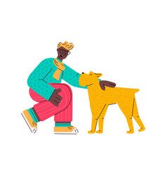 Cartoon man sitting down and petting a dog - young vector
