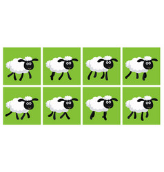 Cartoon trotting sheep animation sprite sheet vector