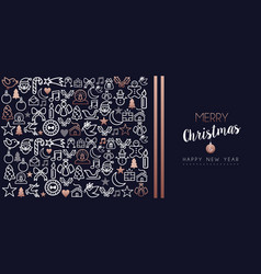 christmas and new year copper icon set card vector image
