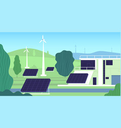 clean electric energy turbine building renewable vector image