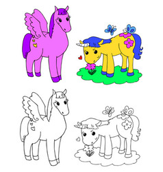 Coloring pegasus and unicorn vector
