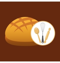 Cookware and round loaf vector