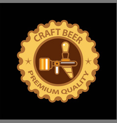Craft beer premium label icon of beer tap vector
