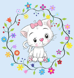 Cute cat in a flowers frame vector