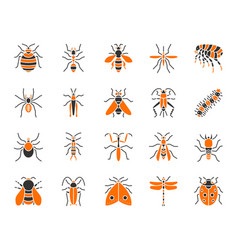 Danger insect simple color flat icons set vector