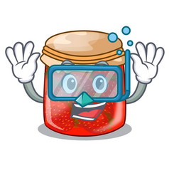 Diving strawberry marmalade in glass jar of vector