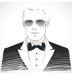 Elegant young businessman portrait vector image