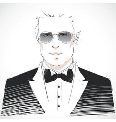 Elegant young businessman portrait vector