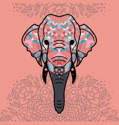 Elephant head with a floral ornament vector