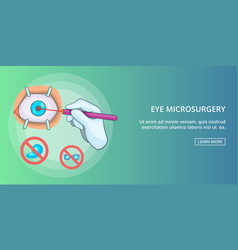 Eye microsurgery banner horizontal cartoon style vector
