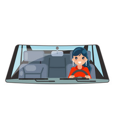 Female driver vehicle interior car wheel ride vector