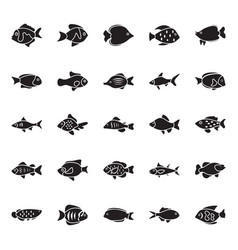 Fishes glyph icons vector