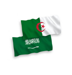 Flags saudi arabia and algeria on a white vector